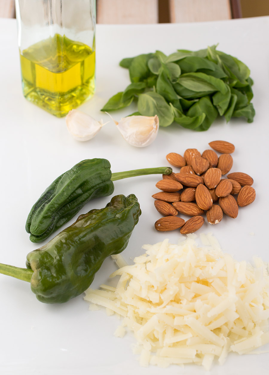 Ingredients for our Almond-Manchego-Pepper Pesto Sauce