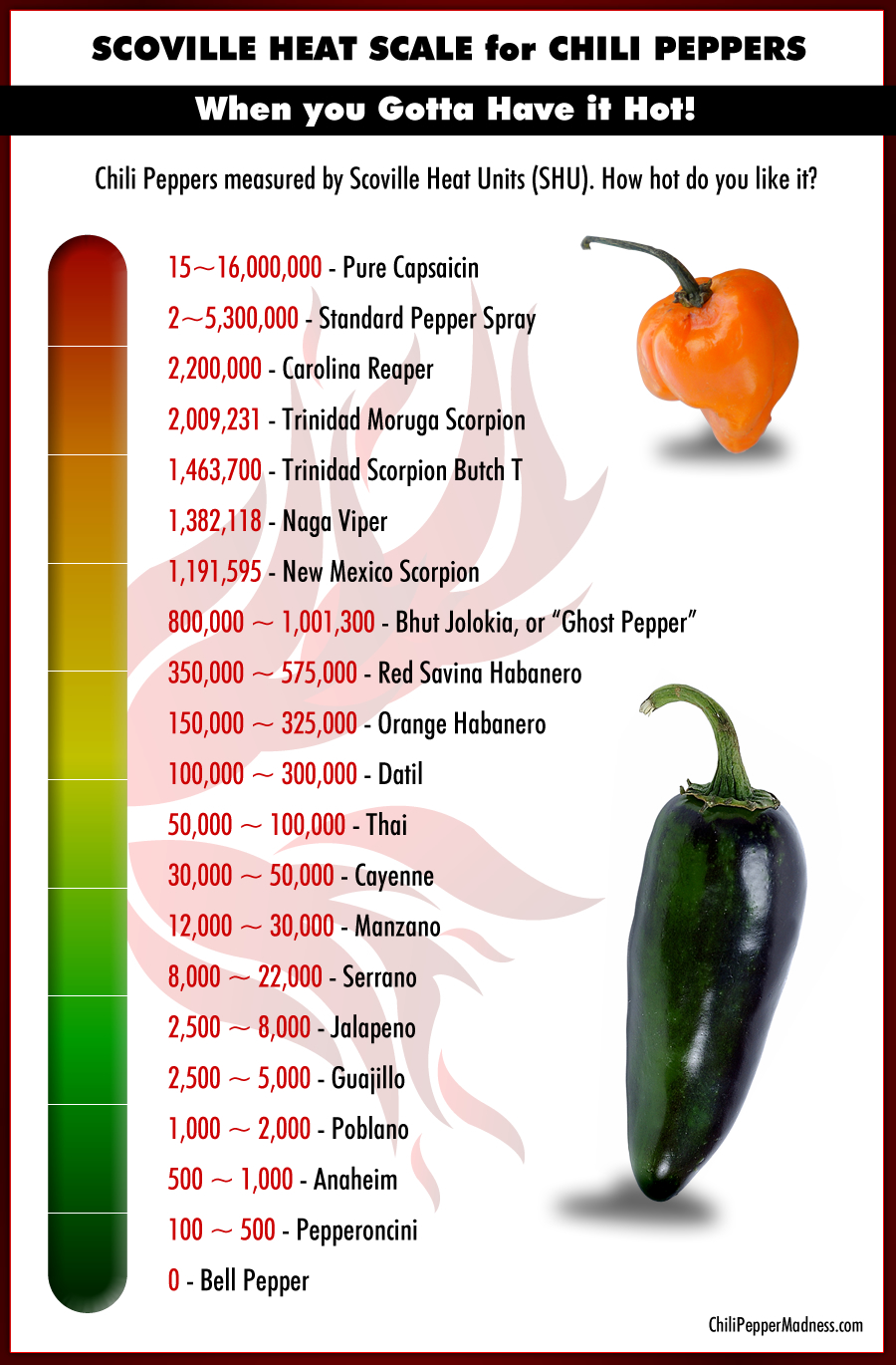 A List Of Chili Peppers From Hottest To Mildest As Measured On The Scoville Heat Unit Shu Scale