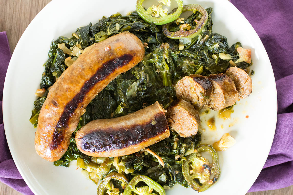 Seared Sausages with Mustard Greens and Peppers – Recipe