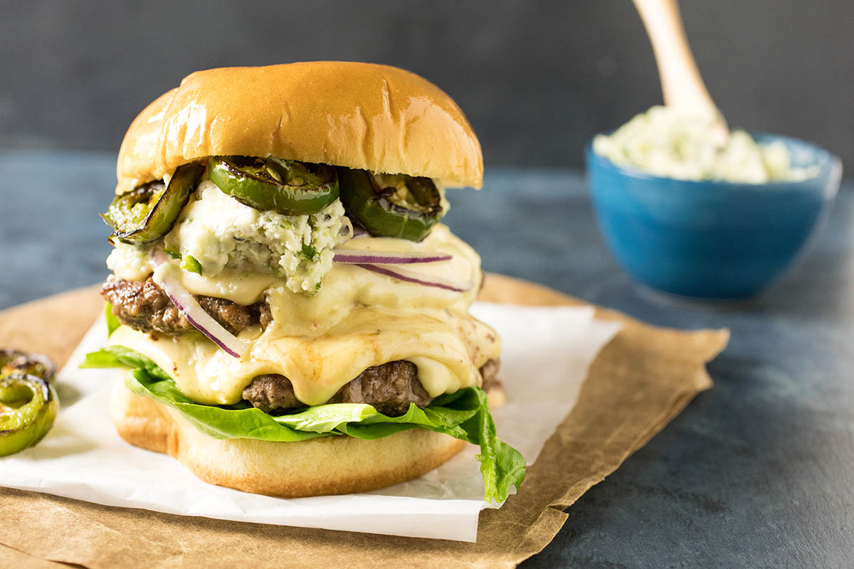 Smashburgers with Charred Serrano-Blue Cheese Butter - Recipe