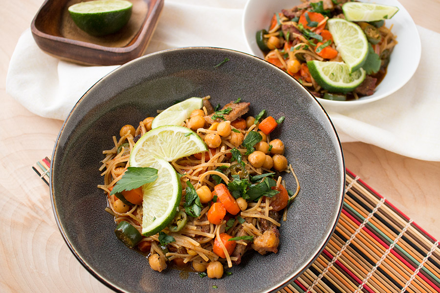 Time to eat! Spicy Beef Stir Fry with Serranos, Carrots and Chickpeas.