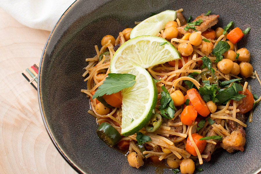 Spicy Beef Stir Fry with Serranos Carrots and Chickpeas - Recipe - Served and ready for you to dig in.