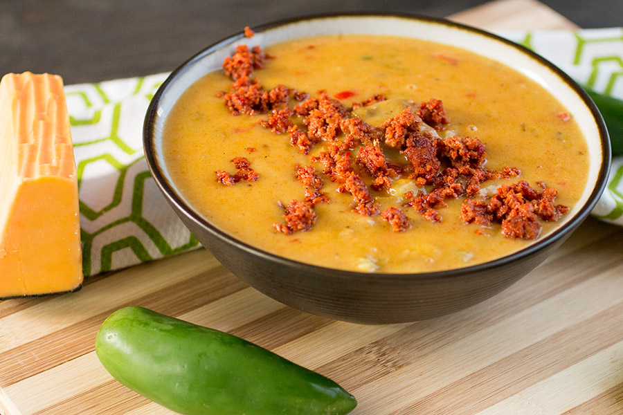 Super Cheesy Beer Cheese Soup with Chorizo - Recipe