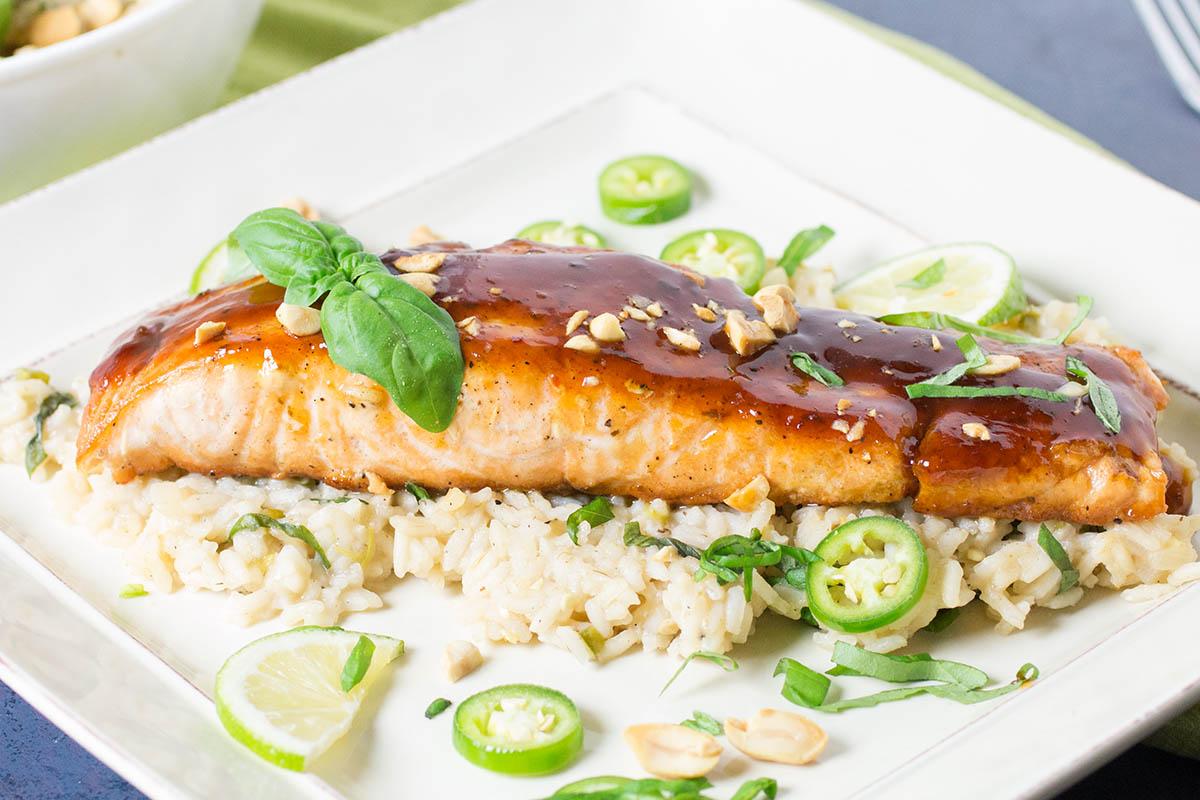 Szechuan Salmon with Chili-Basil Rice – Recipe