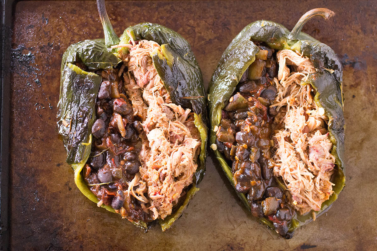 Tex-Mex Chipotle Pork and Black Bean Stuffed Poblano Peppers – Recipe