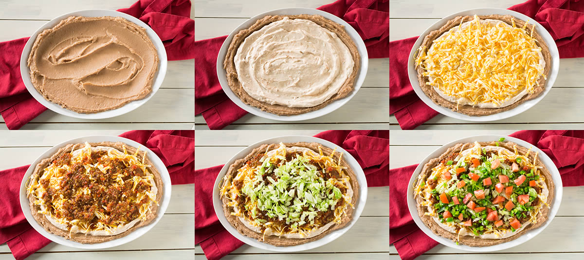 Steps to making this layered taco dip recipe.
