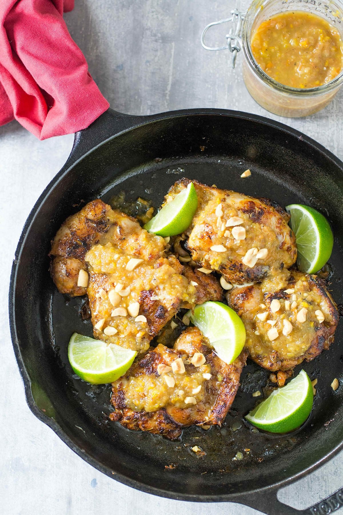 Pan Seared Caribbean Chicken Thighs