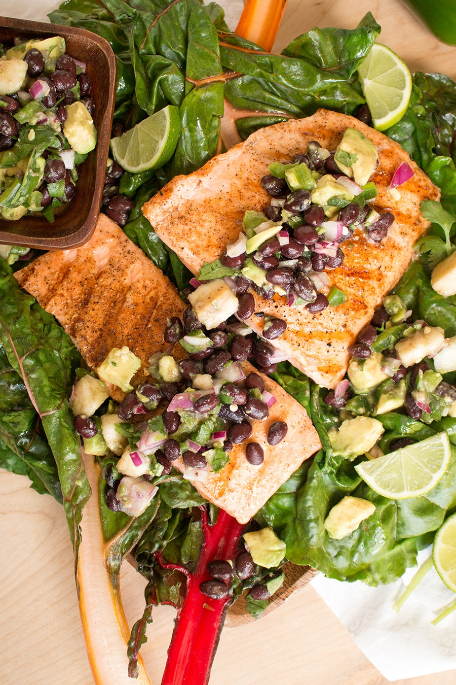 Grilled Salmon with Black Bean-Banana-Avocado Salsa and Swiss Chard