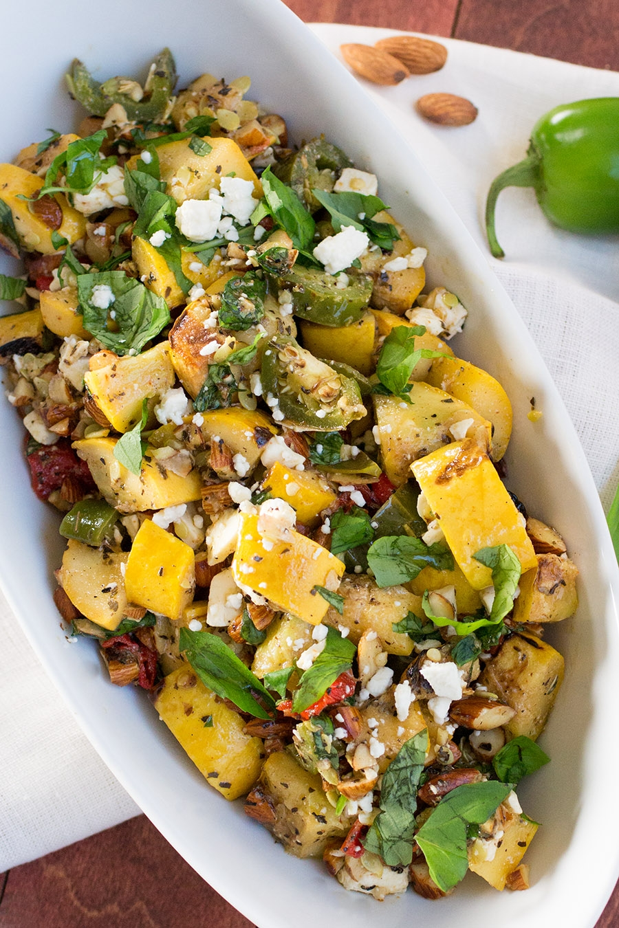 Grilled Summer Squash with Peppers, Basil and Feta Cheese