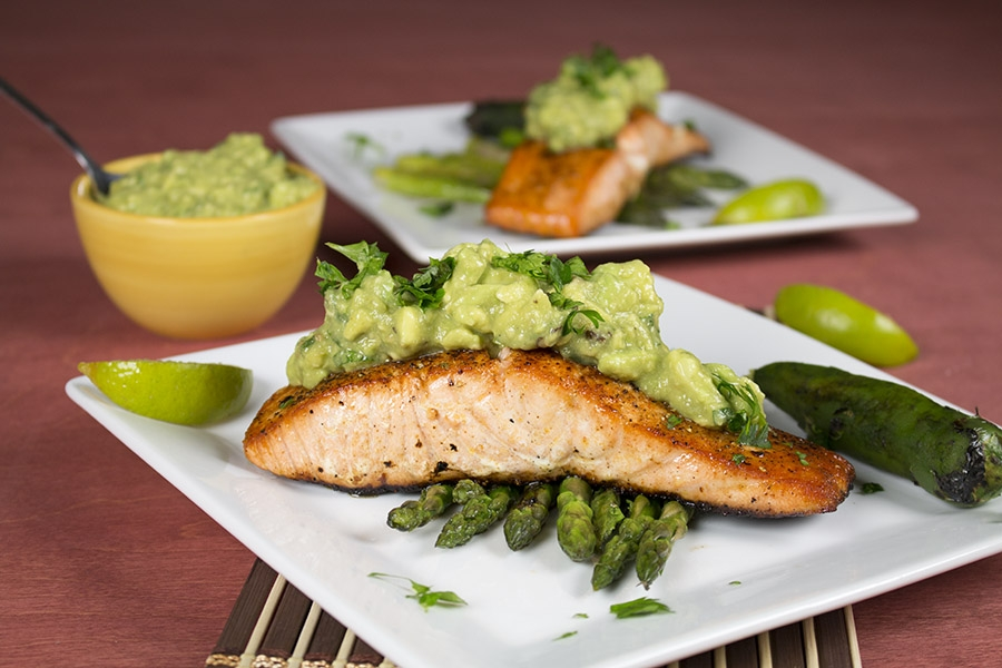 Pan Seared Salmon with Spicy Avocado Sauce
