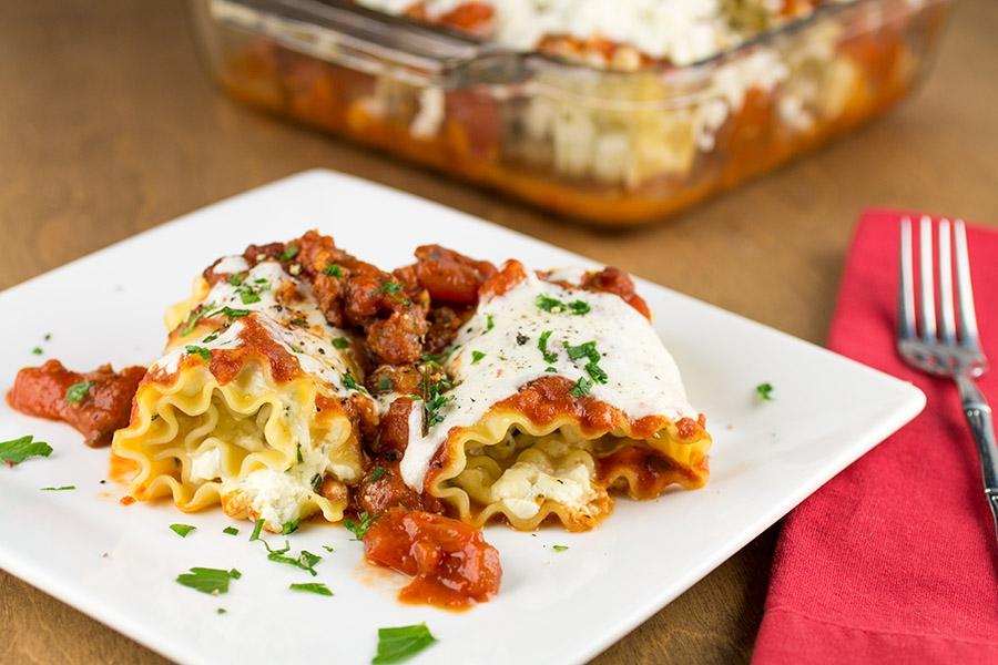 Homemade Italian Sausage-Goat Cheese Lasagna Rolls