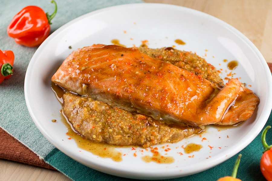 Habanero-Pumpkin Glazed Salmon over Spicy Pumpkin Polenta
