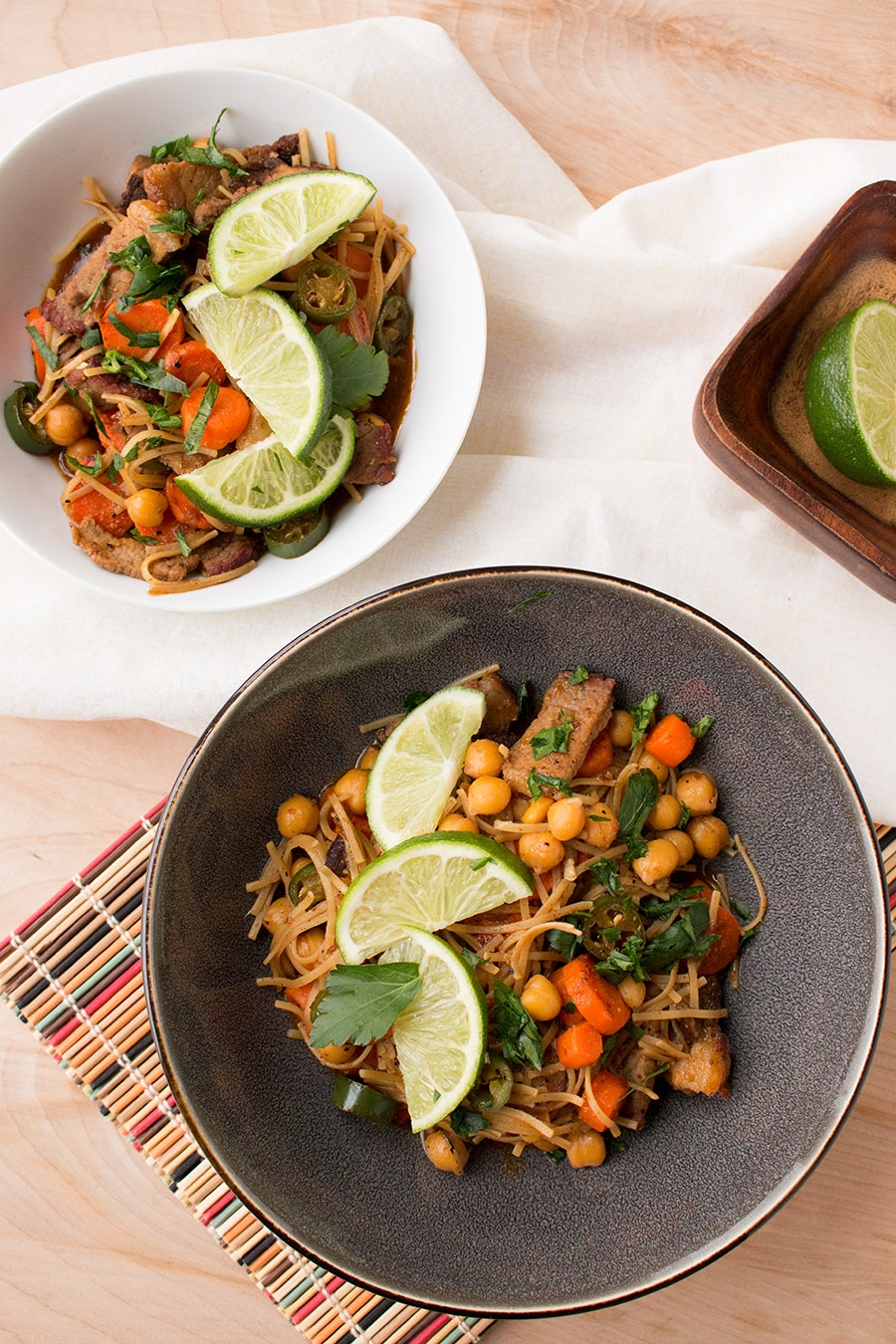 Spicy Beef Stir Fry with Serranos, Carrots and Chickpeas