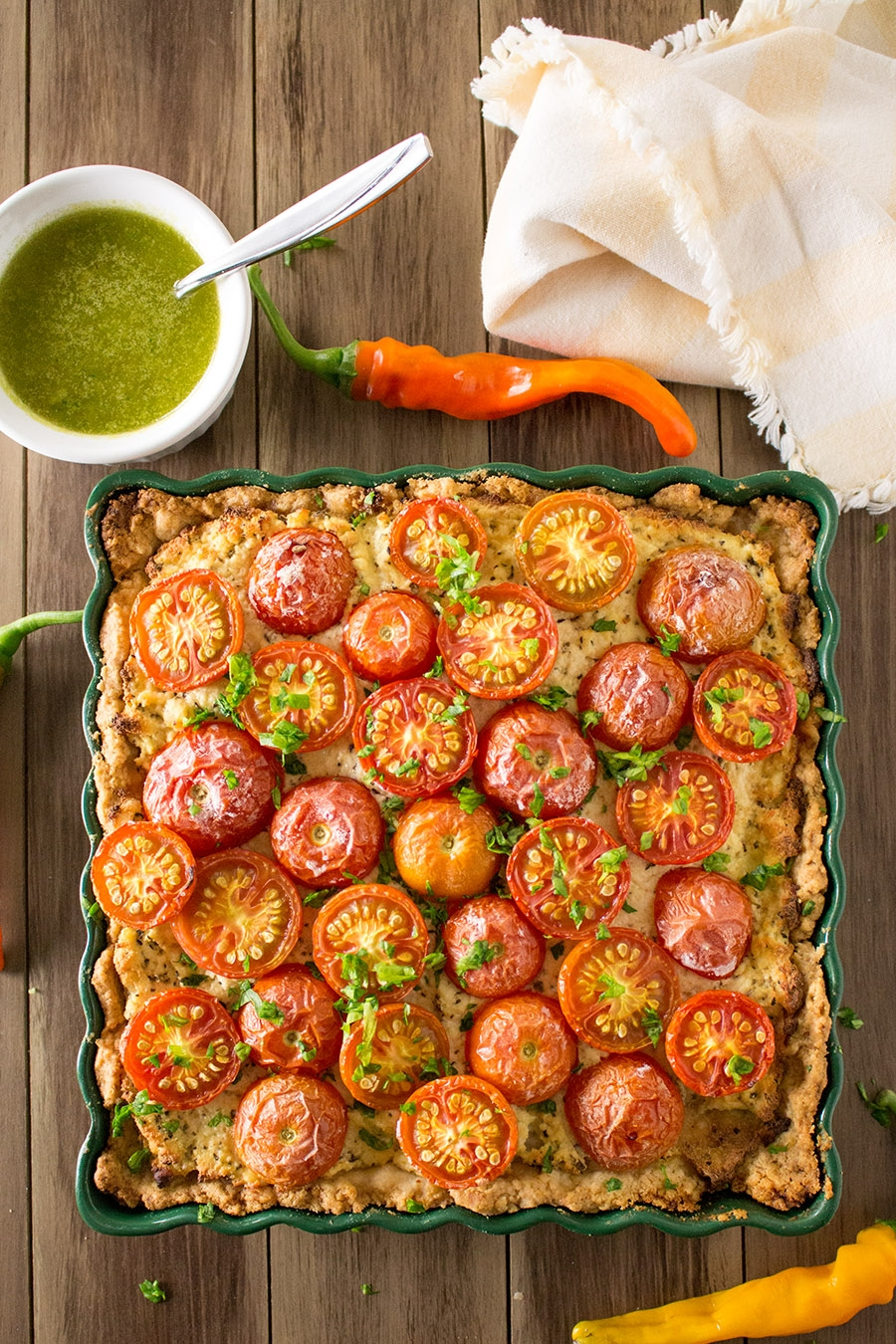 Tomato Cheese Tart with Spinach-Pecan Pesto