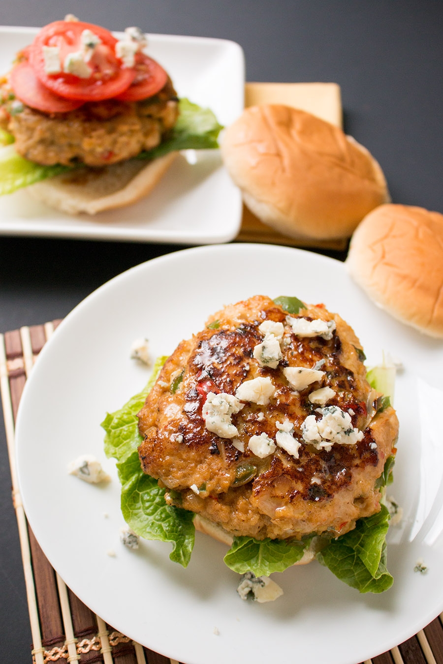 Blue Cheese-Buffalo Chicken Burgers