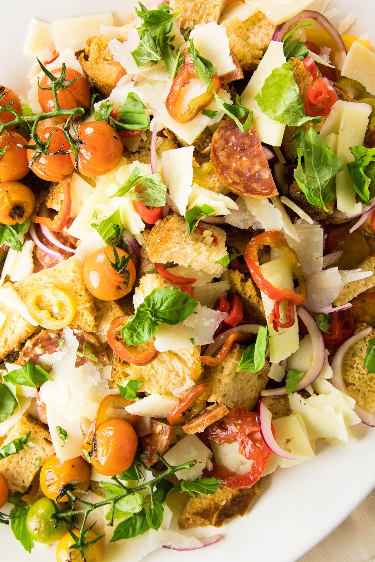 Panzanella Salad with Heirloom Tomatoes and Quick Pickled Peppers