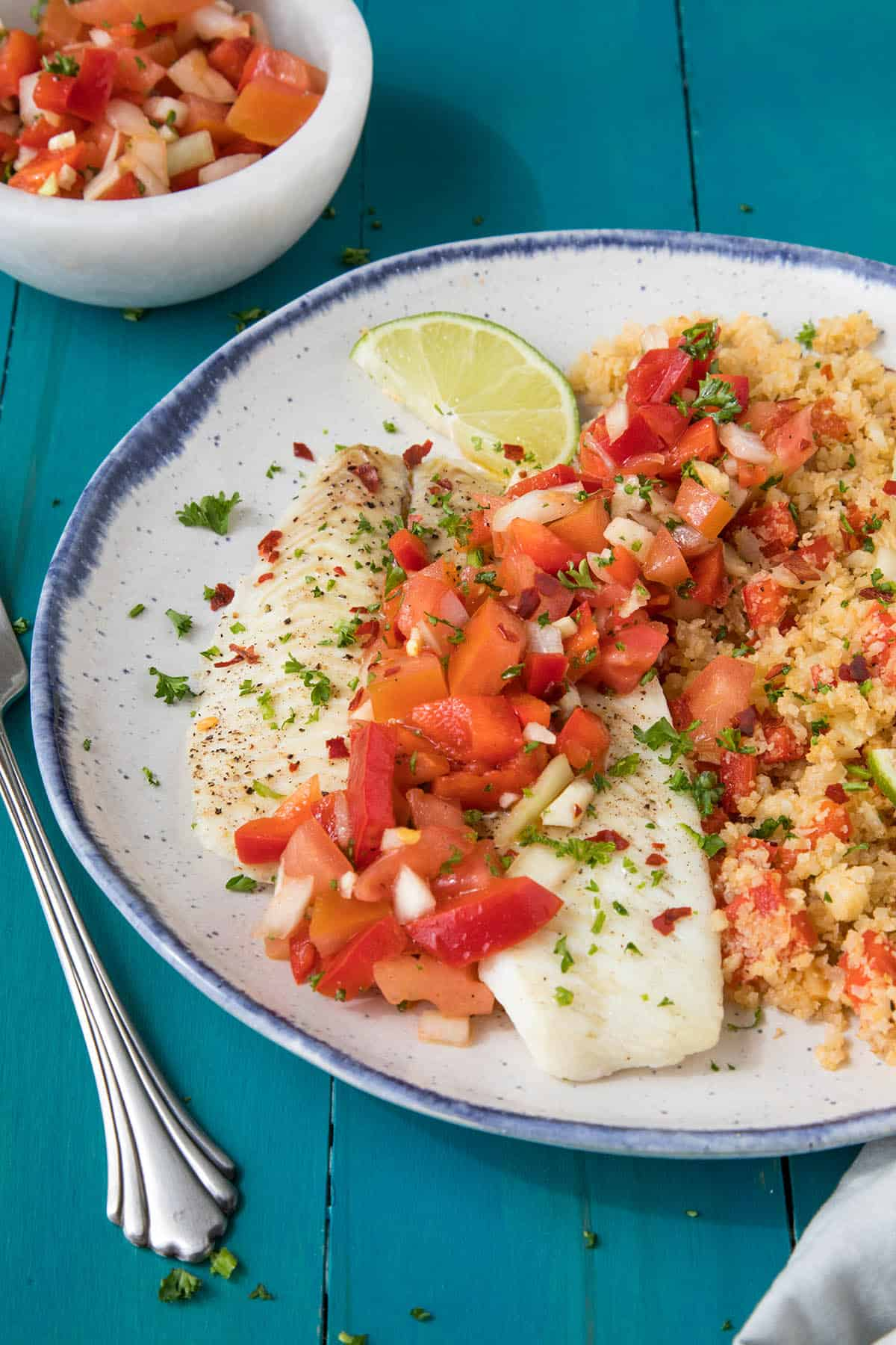 Baked Flounder with Salsa Criolla