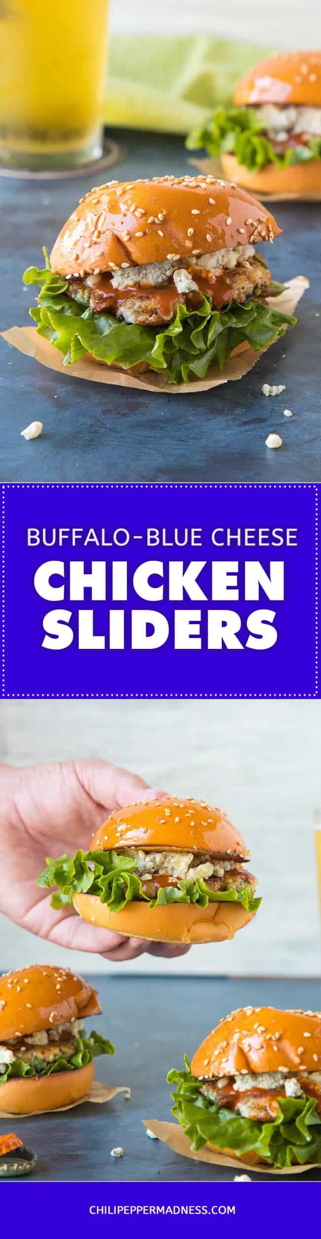 Buffalo Blue Cheese Chicken Sliders - Recipe | ChiliPepperMadness.com #sliders #appetizer #burger #chickenslider #chickenburger #gameday #partyfood