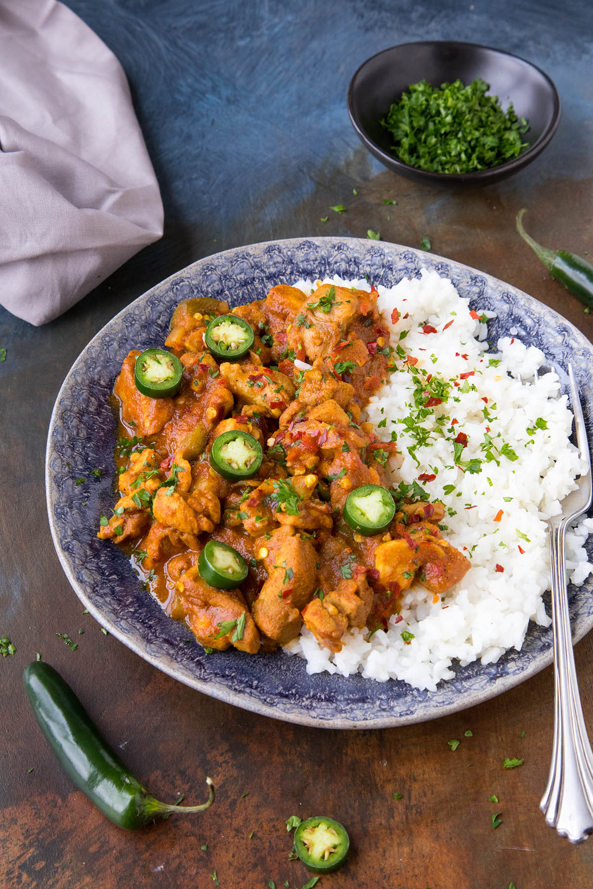 Fiery Chicken Vindaloo - Served Over Rice