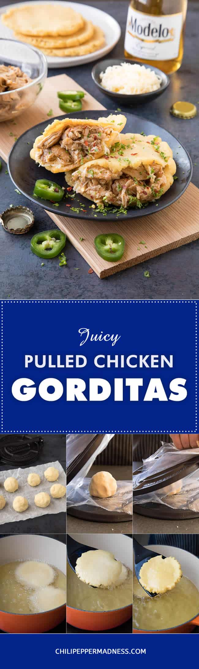 Pulled Chicken Gorditas - Recipe | ChiliPepperMadness.com #gorditas #pulledchicken #MexicanFood #CincodeMayo