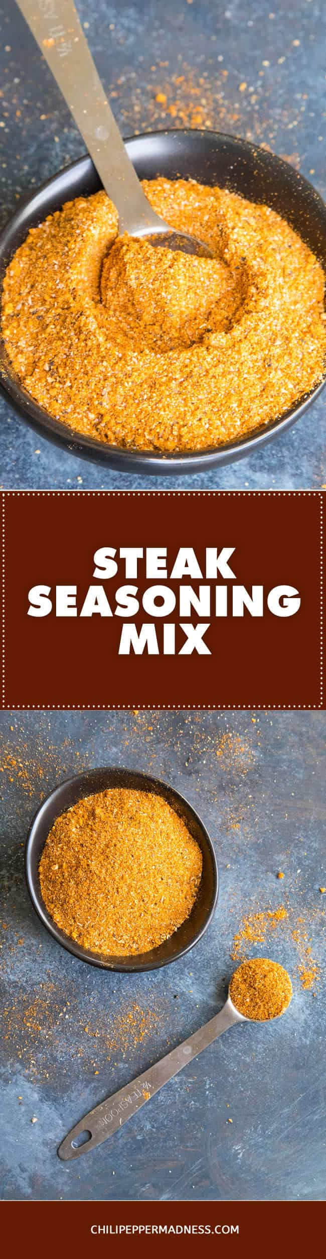 Steak Seasoning Mix - Recipe | ChiliPepperMadness.com #steak #seasoning #spicyfood