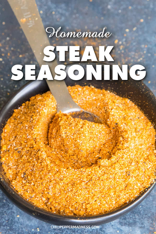 Steak Seasoning Mix Recipe - This steak seasoning mix recipe is a simple flavor combination that will bring that extra WOW factor to any steak. Make a large batch to use anytime. | ChiliPepperMadness.com #Steak #SteakSeasoning #Seasonings #SpiceBlend