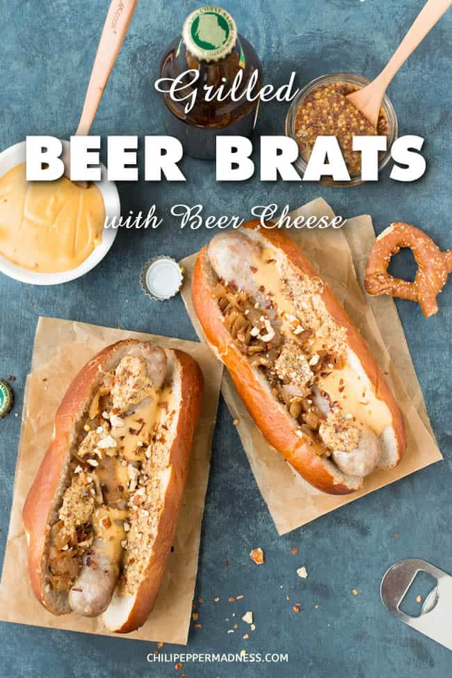 Grilled Beer Brats with Homemade Beer Cheese Recipe | ChiliPepperMadness.com - These grilled beer brats are stewed in beer with onions and peppers, then topped with caramelized onions, homemade beer cheese and pretzel crumbles. Here is the recipe. Bust out those grills! #brats #grilling #CookingOut #bbq #brats #beer #BeerCheese