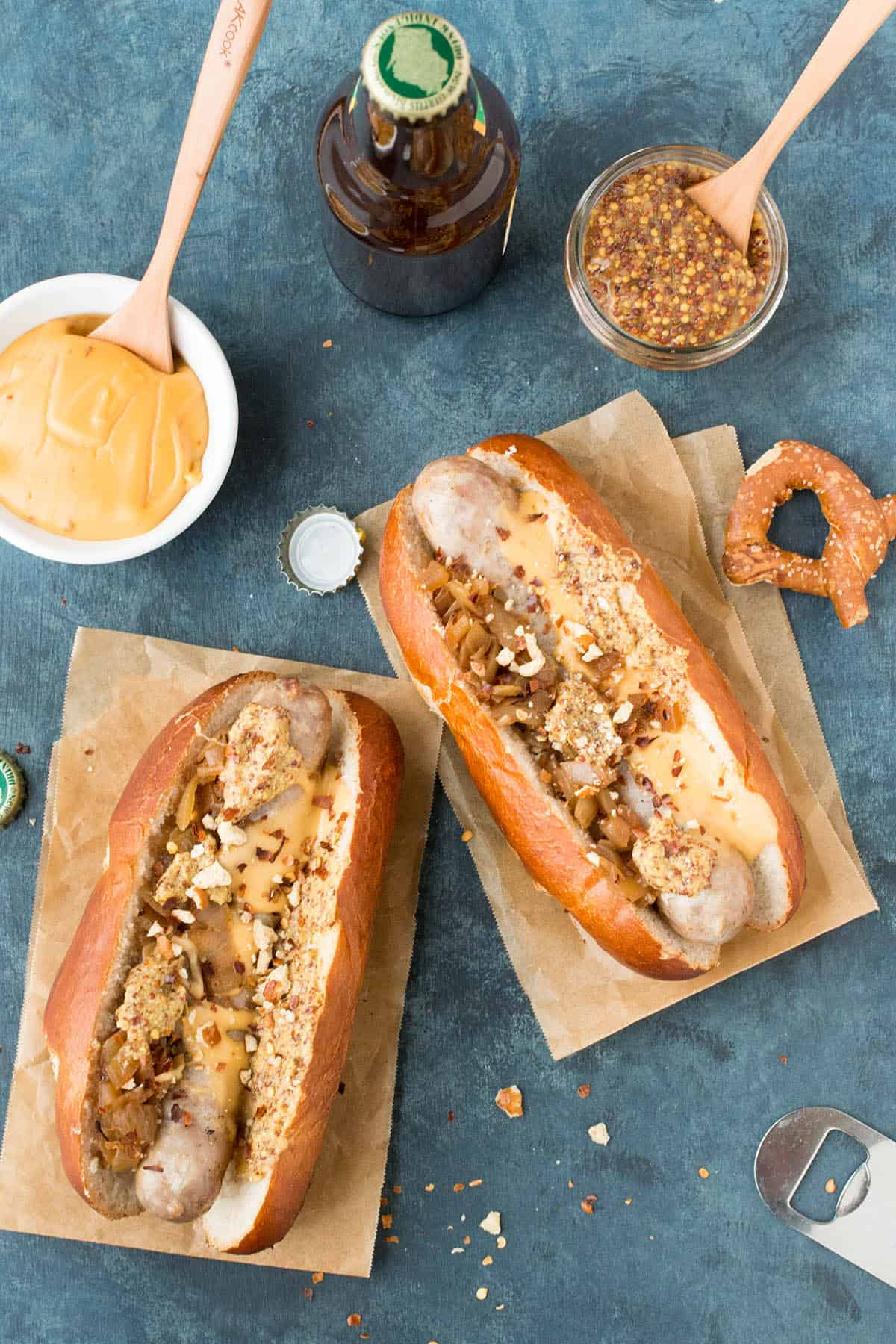 Grilled Beer Brats with Homemade Beer Cheese