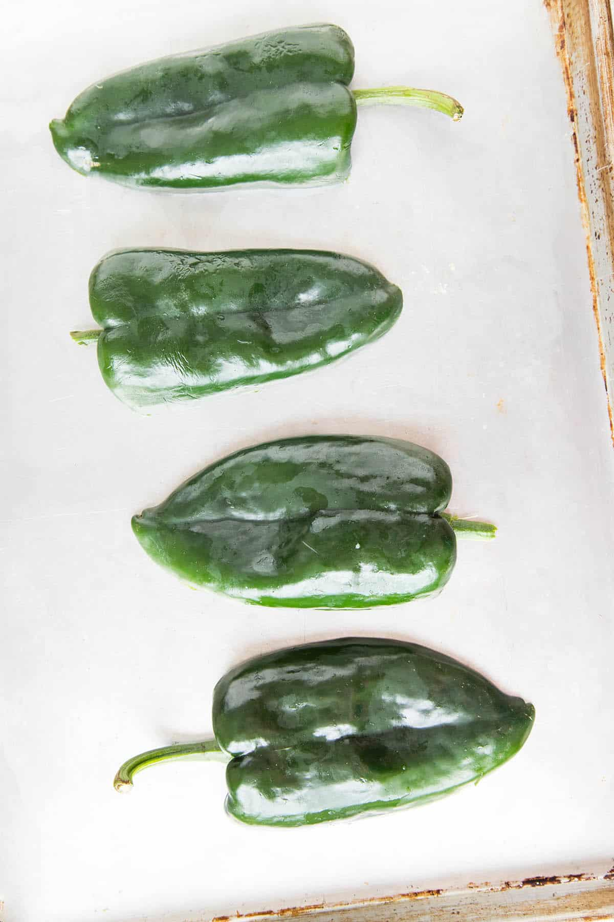 These Poblano Peppers are Ready for Roasting for Our Picadillo Stuffed Poblano Peppers Recipe