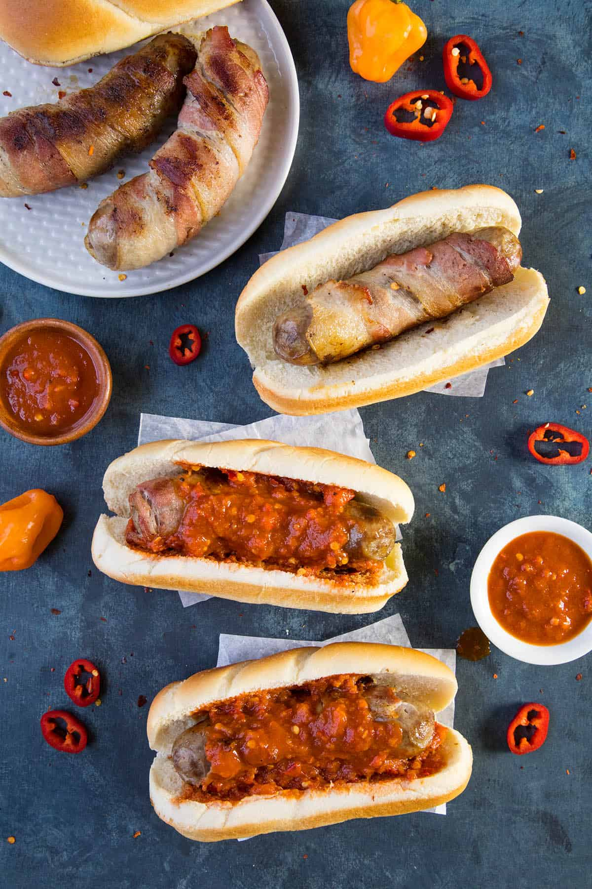 Bacon Wrapped Beer Brats with Spicy Habanero Sauce