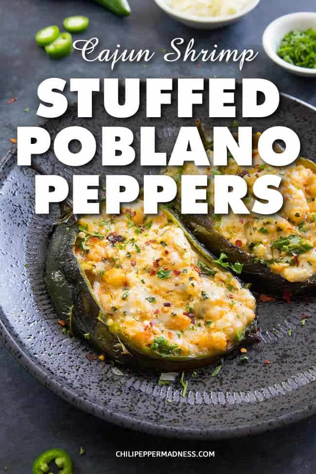Cajun Shrimp Stuffed Poblano Peppers - A recipe for gorgeous poblano peppers stuffed with Cajun seasoned shrimp, Manchego and goat cheese, and basil, then baked or grilled. #StuffedPeppers #Shrimp #Cajun #CajunShrimp #Poblano #StuffedPoblanos #Dinner