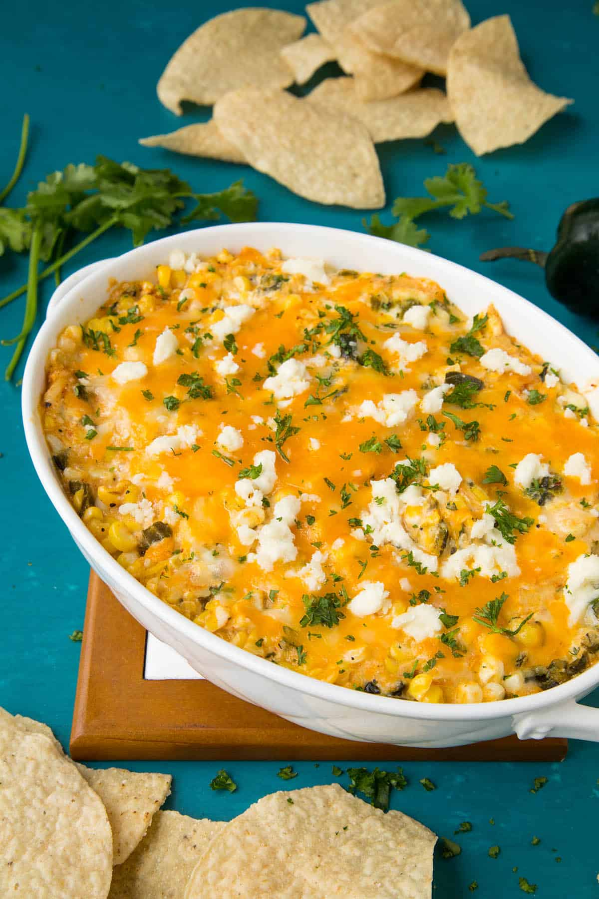 This cheese dip is extra cheesy, with roasted poblano peppers and corn.