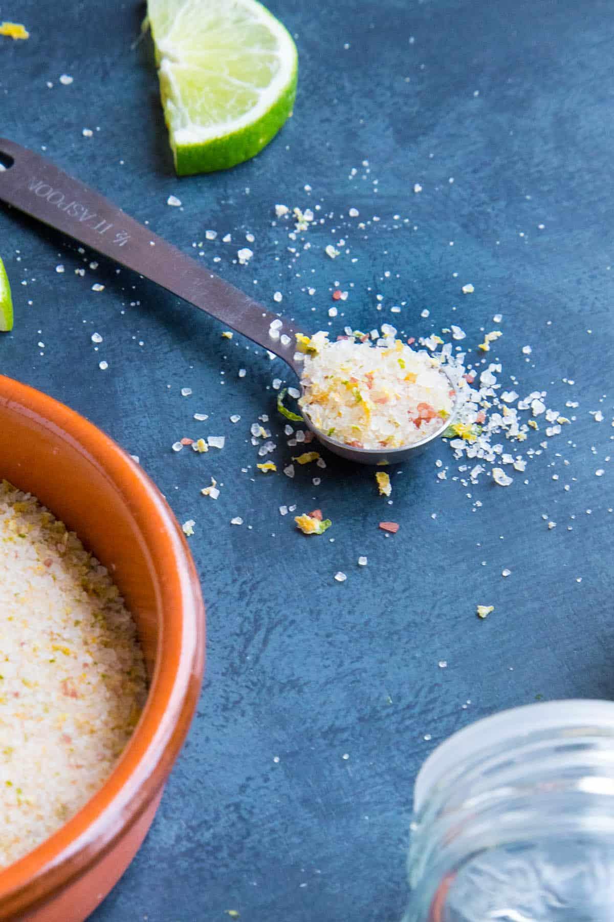 Citrus Lemon and Lime Salt in a serving spoon