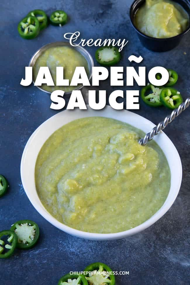 Creamy Jalapeno Sauce - This creamy jalapeno sauce recipe uses no dairy or avocado, yet it is super creamy and wonderfully spicy. It's an emulsification of jalapenos and oil and you'll find it used widely in Tex-Mex cuisine. It is definitely one of my favorites, and incredibly easy to make. #Jalapeno #TexMex #Tex-Mex #Sauce #Spicy #Condiment #ChiliPeppers