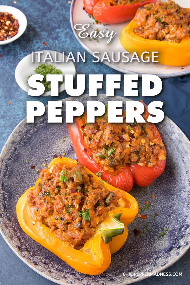 Easy Italian Sausage Stuffed Peppers - A recipe for flavorful bell peppers that are stuffed with a mixture of Italian sausage, tomato sauce, Parmesan cheese and plenty of seasoning, then baked to perfection. A family favorite. Stuffed peppers are so easy to make! #StuffedPeppers #Dinner #ItalianSausage