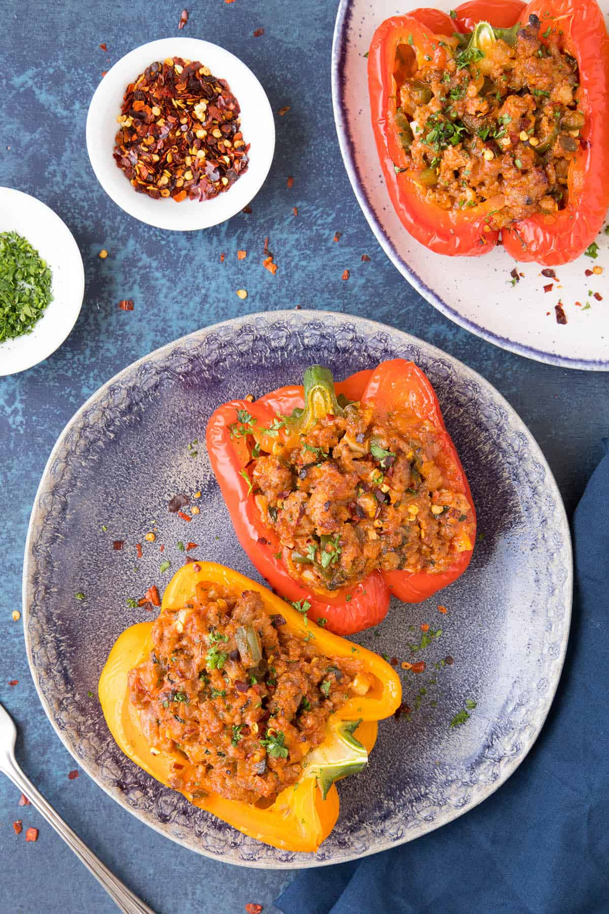 These Italian Sausage Stuffed Peppers are plated and ready to eat.