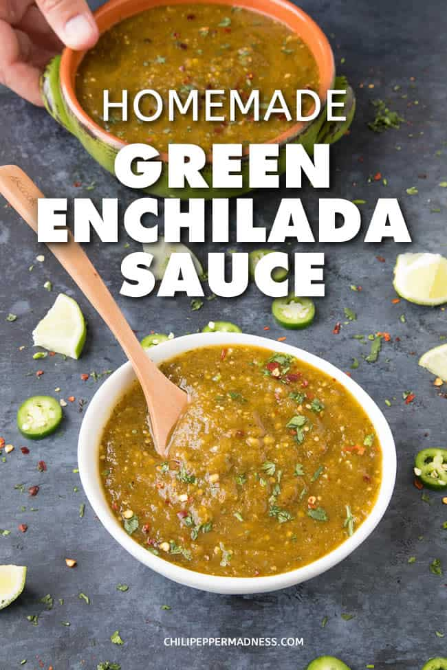 Homemade Green Enchilada Sauce with Roasted Tomatillos - Get your enchiladas ready with this homemade green enchilada sauce recipe made with fresh tomatillos, jalapenos, serranos and poblano peppers, from scratch in your own kitchen. #Mexican #Enchiladas #Dinner #Spicy #GreenSauce