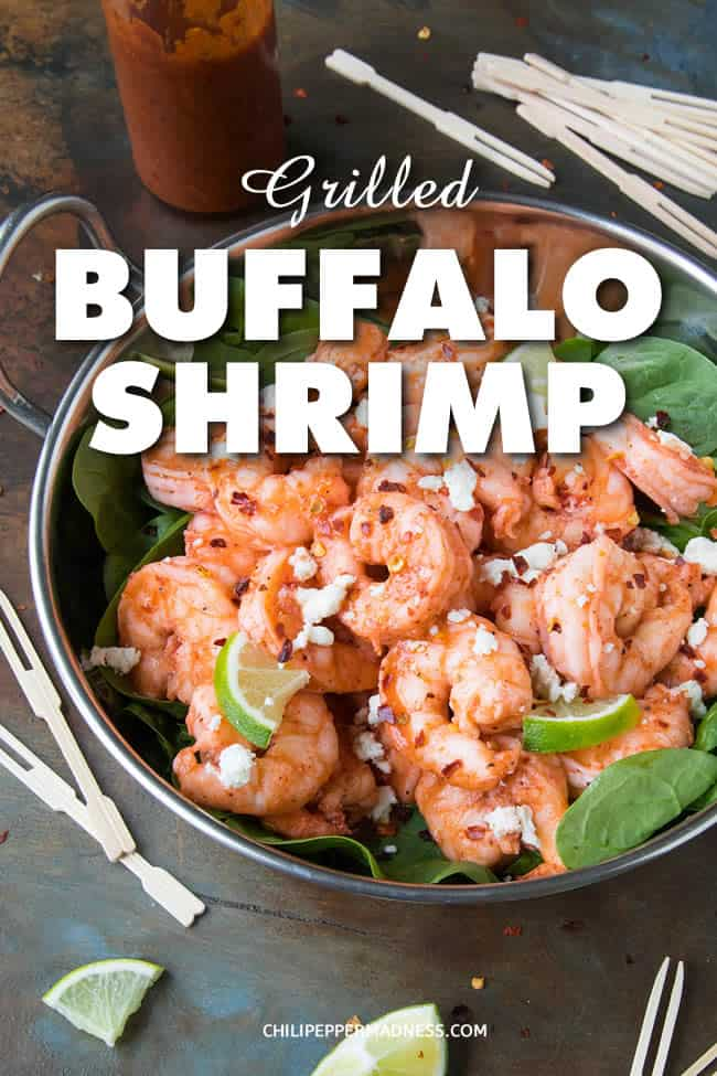Grilled Buffalo Shrimp - Bust out your grills for this recipe of quick grilled seasoned shrimp tossed in a homemade spicy and tangy Buffalo sauce. Perfect for summertime grilling and easy party food, dinner or appetizer. #Shrimp #GrilledShrimp #Grilling #Appetizer #Dinner #Seafood #BuffaloSauce