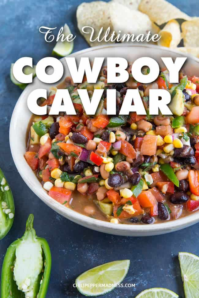 The Ultimate Cowboy Caviar - Cowboy Caviar is a vibrant salsa-bean salad combo that is perfect for any party. Made with fresh ingredients, this version kicks it up a notch with extra jalapeno peppers and additional spices that make it better than any I've ever had. #CowboyCaviar #Salsa #BeanSalad #SideDish #Appetizer