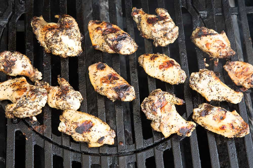 Chicken wings on the grill