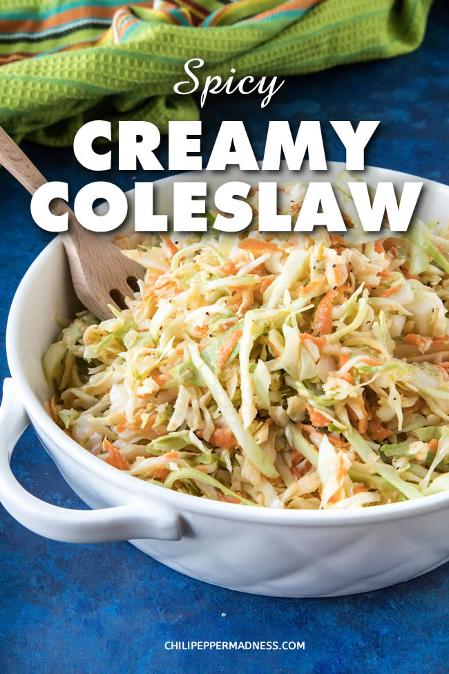 Spicy Creamy Coleslaw - This extra creamy coleslaw is made with shredded cabbage, carrot, onion and jalapeno, then tossed with a spicy dressing made with horseradish, mayo, chili powder and more. Here is the recipe. #SideDish #Coleslaw #Spicy #BBQSides #Barbecue