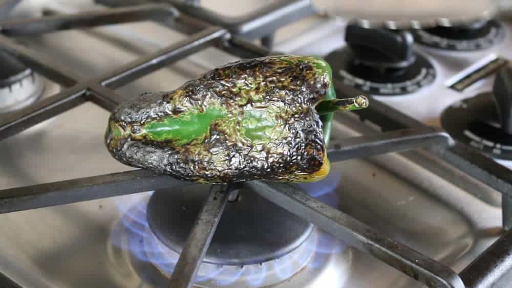 Flame Roasting a Poblano Pepper