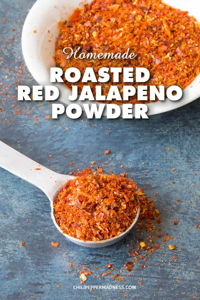 Homemade Roasted Red Jalapeno Powder - Make your own spicy, smoky homemade roasted red jalapeno powder from the discarded skins of roasted jalapeno peppers. You can also make this from whole roasted or smoked peppers. It's such a great seasoning. #jalapeno #seasoning #powder #dehydrator #chilipeppers #roastedpeppers