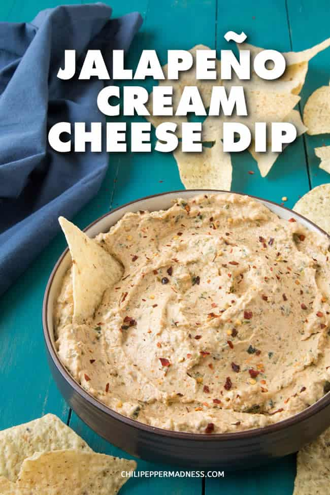 Jalapeno Cream Cheese Dip - This jalapeno cream cheese dip recipe is similar to creamy jalapeno popper dip, but is made with roasted jalapeno peppers and can be served hot, warm or cold. It's the perfect, easy party food. #jalapeno #dip #appetizer #creamcheese #GameDayFood #PartyFood