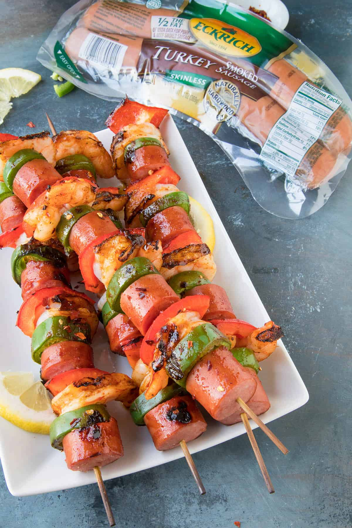 10 Minute Grilled Shrimp and Sausage Skewers