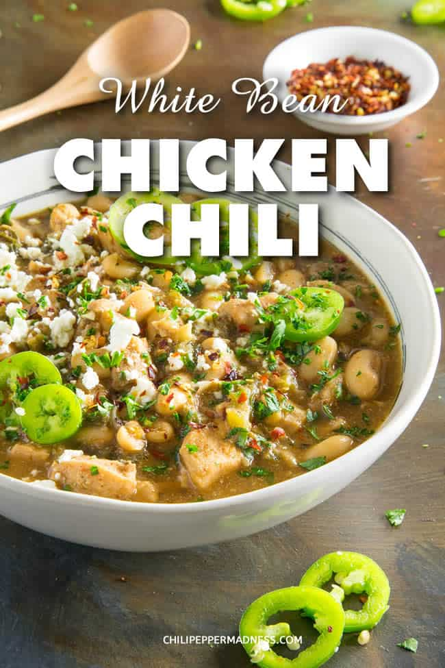 White Bean Chicken Chili - A comforting one-pot white bean chicken chili recipe with plenty of seasoned chicken and loads of seasonings. Good old comfort food with just the right amount of spice. Great for an easy weeknight meal or cool evening. #chili #OnePotMeal #Spicy #ComfortFood #Chicken #dinner