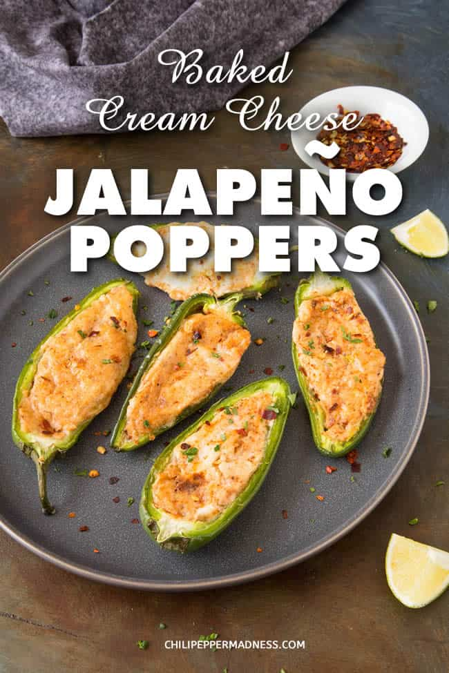 Baked Cream Cheese Jalapeno Poppers - These jalapeno poppers are stuffed with a spiced mixture of cream cheese and white cheddar cheese, then baked until the cheese is nice and melty. This is the ultimate game day or party treat! And SUPER EASY to make. Here is the recipe. #Jalapeno #JalapenoPoppers #Appetizer #GameDayFood #PartyFood