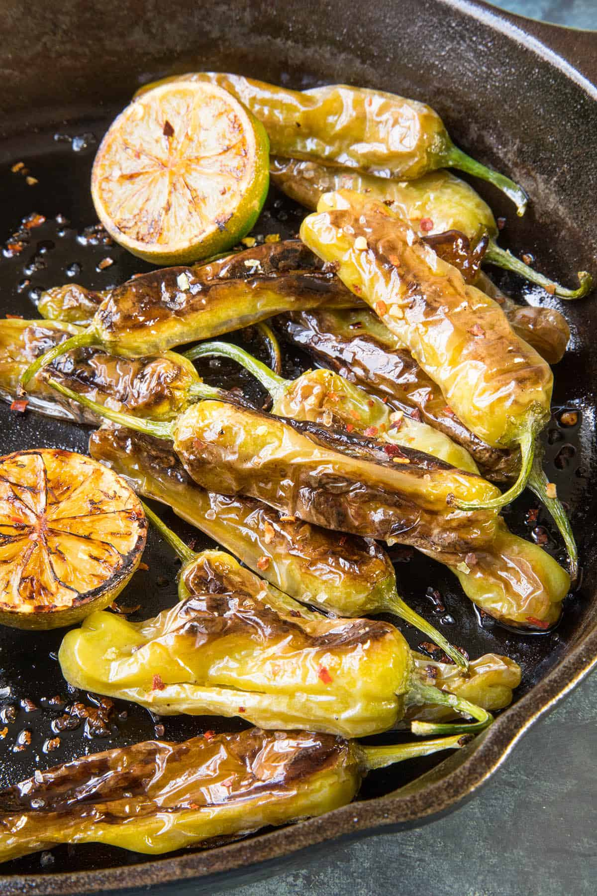 Blistered Shishito Peppers with Flaky Sea Salt and Lime