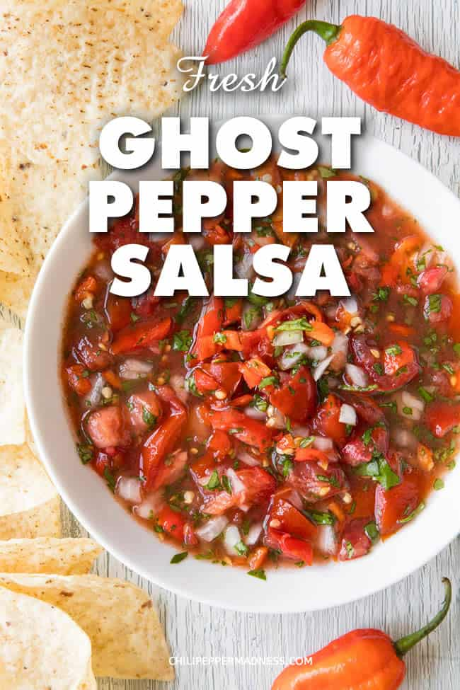 Fresh Ghost Pepper Salsa - A recipe for fresh, spicy ghost pepper salsa made with garden grown ghost peppers, tomato, onion, lime juice and cilantro. It's time to spice things up! #Salsa #Appetizer #GameDay #GhostPepper #Spicy