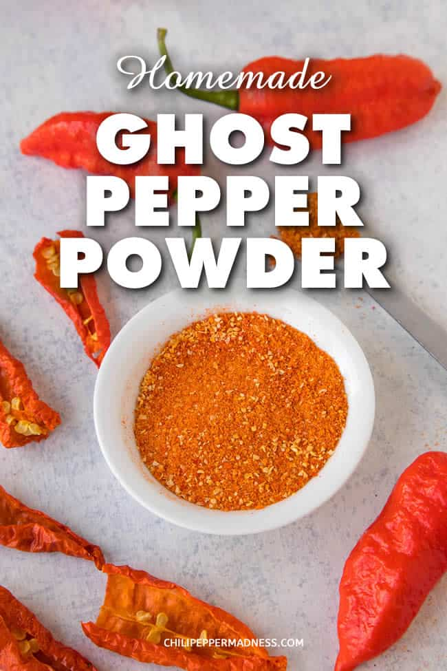 Homemade Ghost Pepper Powder - Make your own spicy, homemade ghost pepper powder in your own kitchen with this recipe. All you need are ghost peppers and a dehydrator. Use it to spice up anything or make your own seasoning blends. #GhostPepper #BhutJolokia #Spice #Spicy #Seasoning #ChiliPowder #Dehydrator